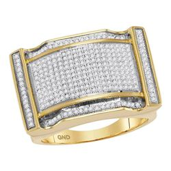 Mens Diamond Arched Rectangle Cluster Ring 3/4 Cttw 10kt Yellow Gold