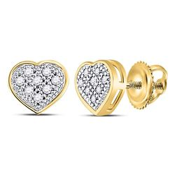 Diamond Heart Cluster Screwback Earrings 1/20 Cttw 10kt Yellow Gold