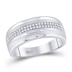 Mens Round Pave-set Diamond Double Row Wedding Band Ring 1/6 Cttw 10kt White Gold