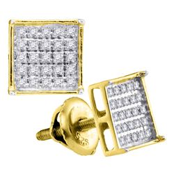 Unisex Diamond Square Cluster Stud Earrings 1/6 Cttw 14kt Yellow Gold