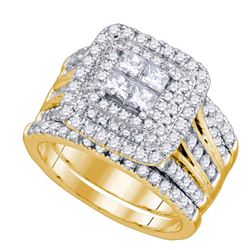 Diamond Cluster Halo Bridal Wedding Engagement Ring Band Set 2.00 Cttw 14kt Yellow Gold