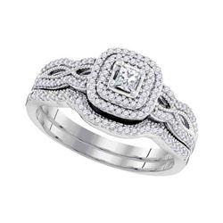 Diamond Double Halo Bridal Wedding Engagement Ring Band Set 1/10 Cttw 10kt White Gold
