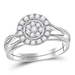 Diamond Cluster Bridal Wedding Engagement Ring Band Set 1/3 Cttw 10kt White Gold