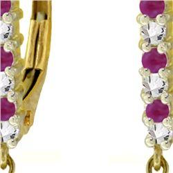 Genuine 3.35 ctw Ruby & Diamond Earrings 14KT Yellow Gold - REF-62K4V