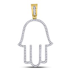 Mens Diamond Hamsa Fatima Hand Charm Pendant 1/3 Cttw 10kt Yellow Gold