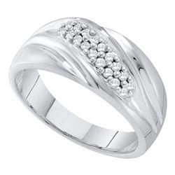 Mens Round Pave-set Diamond Diagonal Double Row Wedding Band 1/4 Cttw 10kt White Gold