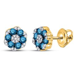 Round Blue Color Enhanced Diamond Cluster Screwback Earrings 1.00 Cttw 10kt Yellow Gold