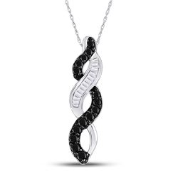 Round Black Color Enhanced Diamond Woven Infinity Pendant 1/3 Cttw 14kt White Gold