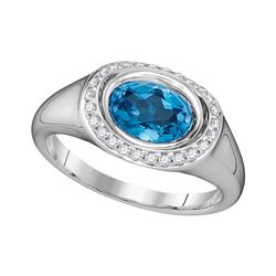 Oval Blue Topaz Solitaire Diamond Accent Ring 1-1/2 Cttw 14kt White Gold