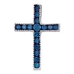 Round Blue Color Enhanced Diamond Small Cross Pendant 1/6 Cttw 10kt White Gold