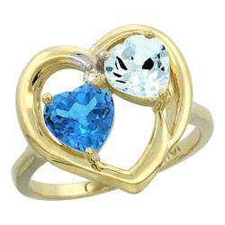 2.61 CTW Diamond, Swiss Blue Topaz & Aquamarine Ring 14K Yellow Gold - REF-38M2A
