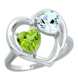 2.61 CTW Diamond, Peridot & Aquamarine Ring 10K White Gold - REF-27A9X