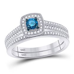 Round Blue Color Enhanced Diamond Bridal Wedding Engagement Ring Band Set 1/2 Cttw 10kt White Gold