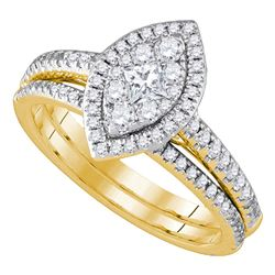 Diamond Marquise-shape Cluster Bridal Wedding Engagement Ring Band Set 3/4 Cttw 14kt Yellow Gold
