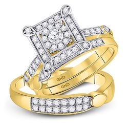 His & Hers Diamond Solitaire Matching Bridal Wedding Ring Band Set 1.00 Cttw 14kt Yellow Gold