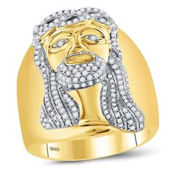 Mens Diamond Jesus Christ Face Cluster Ring 1.00 Cttw 10kt Yellow Gold