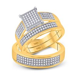 His & Hers Diamond Square Cluster Matching Bridal Wedding Ring Band Set 5/8 Cttw 10kt Yellow Gold