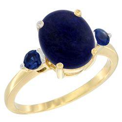 2.74 CTW Lapis Lazuli & Blue Sapphire Ring 14K Yellow Gold - REF-30A2X