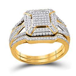 Diamond Cluster Bridal Wedding Engagement Ring Band Set 1/2 Cttw 10kt Yellow Gold