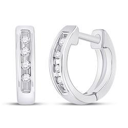 Diamond Single Row Huggie Earrings 1/20 Cttw 10kt White Gold