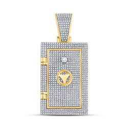 Mens Diamond Bank Safe Vault Charm Pendant 1-1/3 Cttw 10kt Yellow Gold