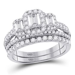 Emerald Diamond Bridal Wedding Engagement Ring Band Set 1-1/2 Cttw 14kt White Gold