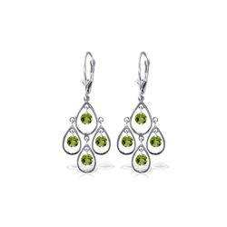 Genuine 2.4 ctw Peridot Earrings 14KT White Gold - REF-54X9M