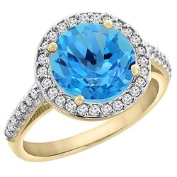 2.44 CTW Swiss Blue Topaz & Diamond Ring 14K Yellow Gold - REF-56K2W
