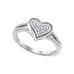 Diamond Milgrain Heart Cluster Ring 1/5 Cttw 10kt White Gold