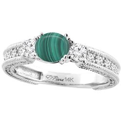 2.73 CTW Malachite & Diamond Ring 14K White Gold - REF-85R2H