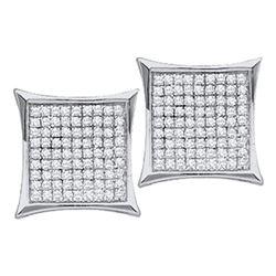 Diamond Square Kite Cluster Stud Earrings 1/10 Cttw 14kt White Gold