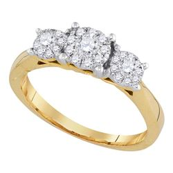 Flower Cluster Diamond Bridal Wedding Engagement Ring 1/2 Cttw 14k Yellow Gold