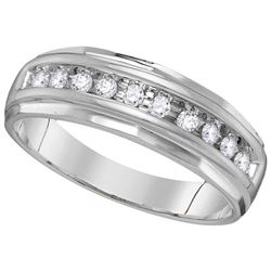 Mens Diamond Single Row Grooved Wedding Band Ring 1/4 Cttw 14kt White Gold