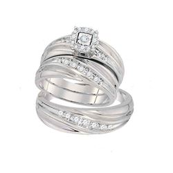 Diamond Mens Matching Trio Wedding Engagement Bridal Ring Band Set 10k White Gold