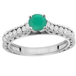 0.81 CTW Emerald & Diamond Ring 14K White Gold - REF-63M5A