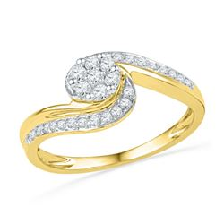 Diamond Flower Cluster Curved Ring 1/3 Cttw 10kt Yellow Gold