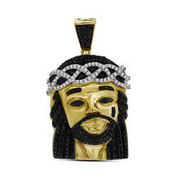 Polished Black Color Enhanced Diamond Mens Jesus Christ 3D Head Piece Charm Pendant 1.00 Cttw 10k Ye
