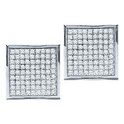 Diamond Square Cluster Stud Earrings 1/20 Cttw 10kt White Gold
