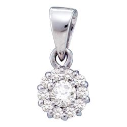 Diamond Solitaire Circle Frame Cluster Pendant 1/4 Cttw 14kt White Gold