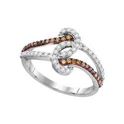 Round Brown Diamond Strand Band Ring 1/2 Cttw 10kt White Gold