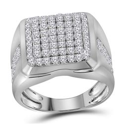 Mens Diamond Square Cluster Fashion Ring 2.00 Cttw 10kt White Gold