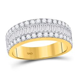 Baguette Diamond Fashion Anniversary Ring 1-1/2 Cttw 14kt Yellow Gold