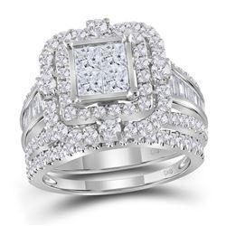 Diamond Cluster Bridal Wedding Engagement Ring Band Set 2-1/3 Cttw 14kt White Gold