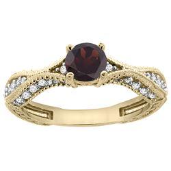0.85 CTW Garnet & Diamond Ring 14K Yellow Gold - REF-67X8M