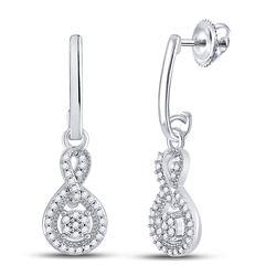 Diamond Framed Cluster Dangle Earrings 1/5 Cttw 10kt White Gold