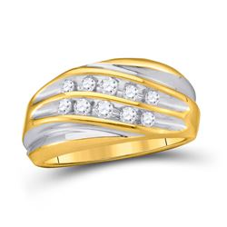 Mens Diamond Wedding Anniversary Band Ring 1/2 Cttw 10kt Yellow Two-tone Gold