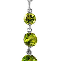 Genuine 3.6 ctw Peridot Necklace 14KT White Gold - REF-24R4P