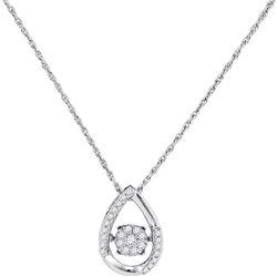 Diamond Teardrop Frame Moving Twinkle Cluster Pendant 1/6 Cttw 10kt White Gold