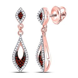 Round Red Color Enhanced Diamond Dangle Earrings 1/3 Cttw 10kt Rose Gold