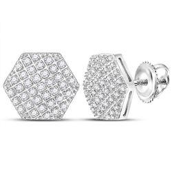 Mens Diamond Hexagon Cluster Stud Earrings 1/5 Cttw 10kt White Gold